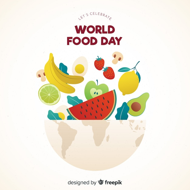 Flat design world food day with aliments in bowl Free Vector