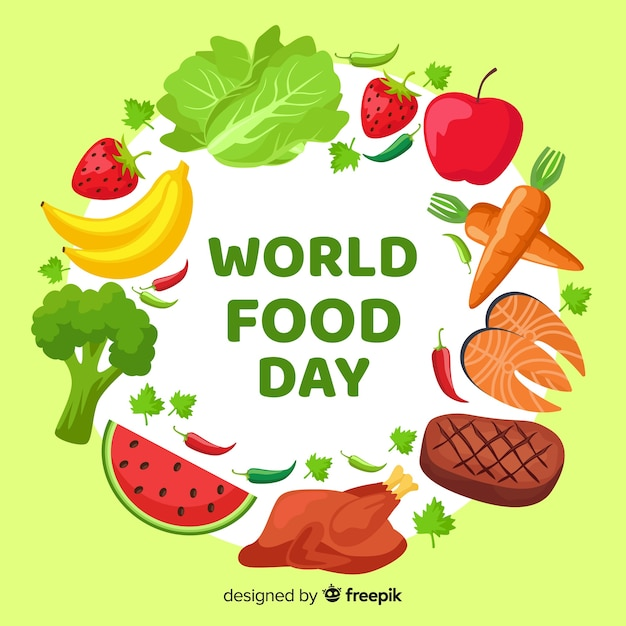 Flat design world food day with carrots Free Vector