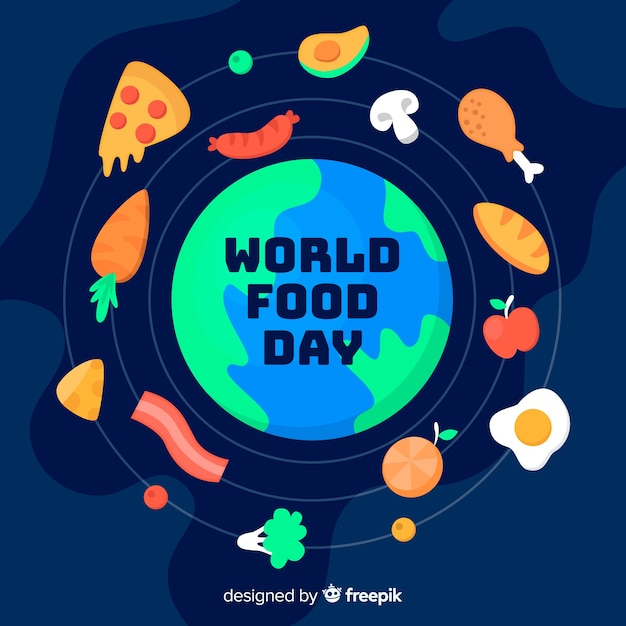 Flat design world food day with globe Free Vector