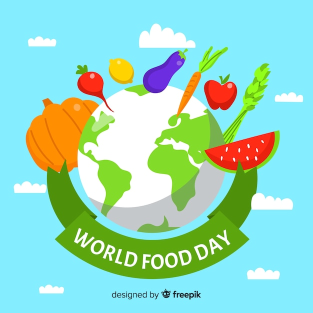 Flat design world food day with planet Free Vector