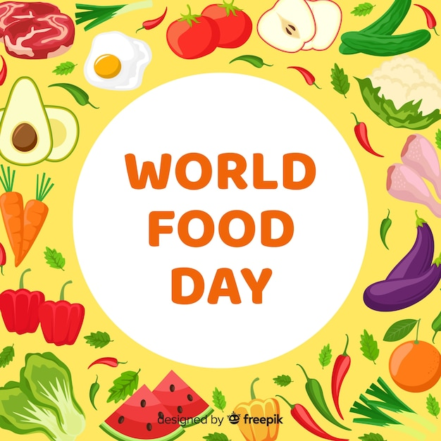 Flat design world food day with tomato Free Vector
