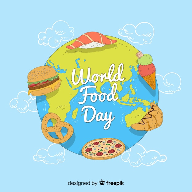 Flat design world food day Free Vector