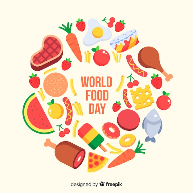 Flat design of world food day Free Vector