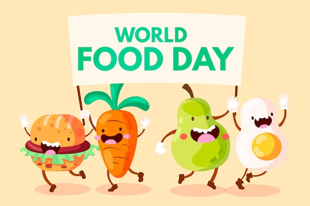 Flat design world food day Free Vector