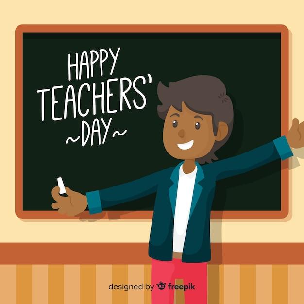 Flat design world happy teachers day Free Vector