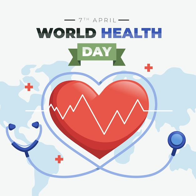 Flat design world health day celebration theme Free Vector