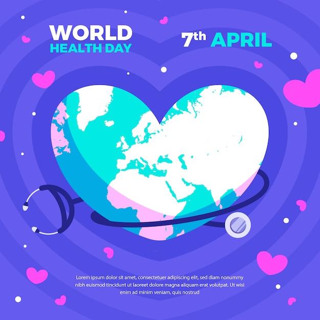 フラットなデザインの世界保健デーのコンセプト 無料ベクター