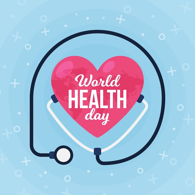 Flat design world health day heart surrounded by stethoscope Free Vector