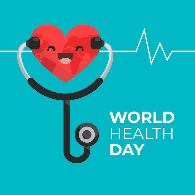 Flat design world health day smiley heart and pulse Free Vector