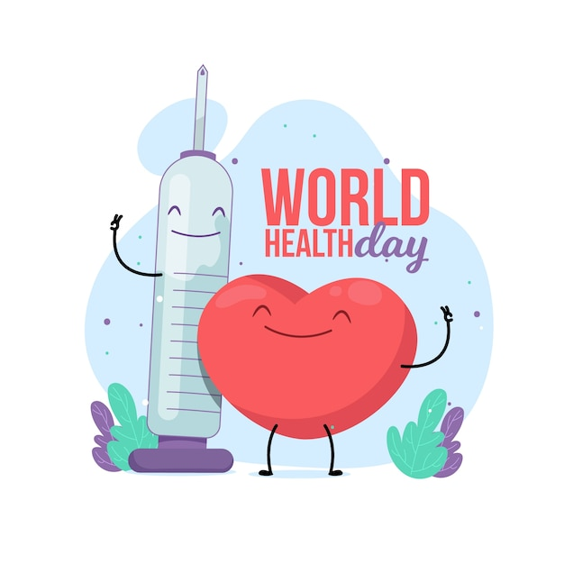 Flat design world health day with syringe Free Vector