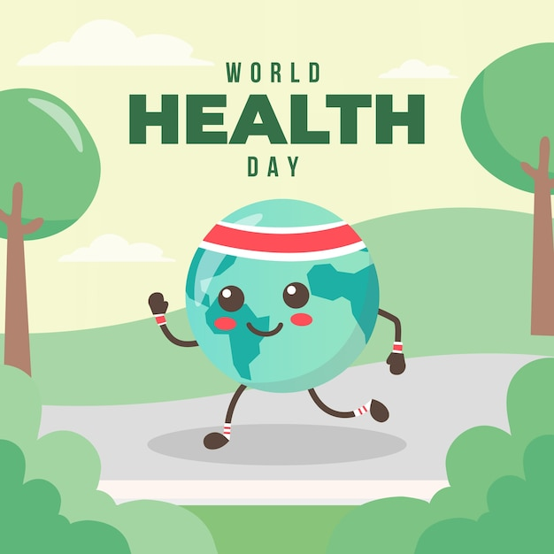 Flat design world heathy day event concept Free Vector
