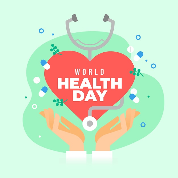 Flat design world heathy day event theme Free Vector