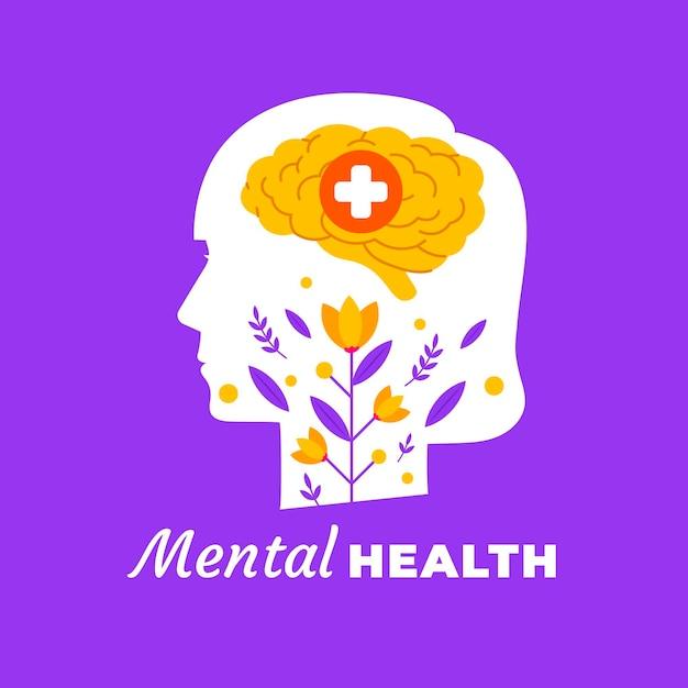 頭と花のフラットデザイン世界メンタルヘルス日 無料ベクター