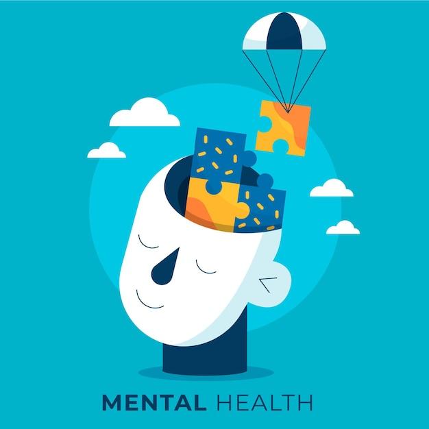 頭とパズルのあるフラットデザインの世界メンタルヘルスの日 Premiumベクター