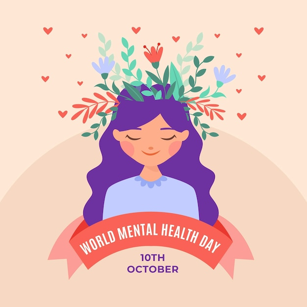 Всемирный день психического здоровья в плоском дизайне Premium векторы