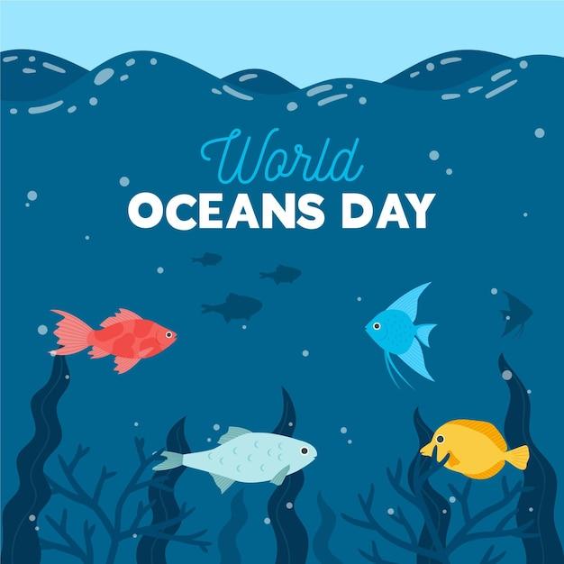 フラットなデザインの世界oceands日コンセプト 無料ベクター