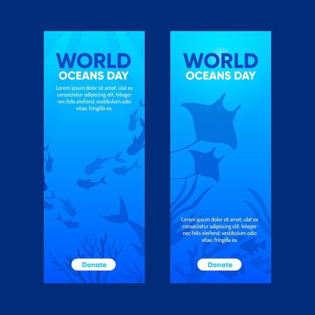 Flat design world oceans day banner Free Vector