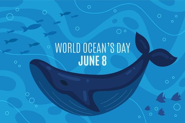 Плоский дизайн мирового дня океанов баннер Premium векторы