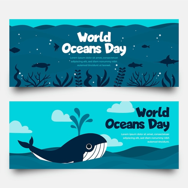 フラットなデザインの世界海の日バナー 無料ベクター