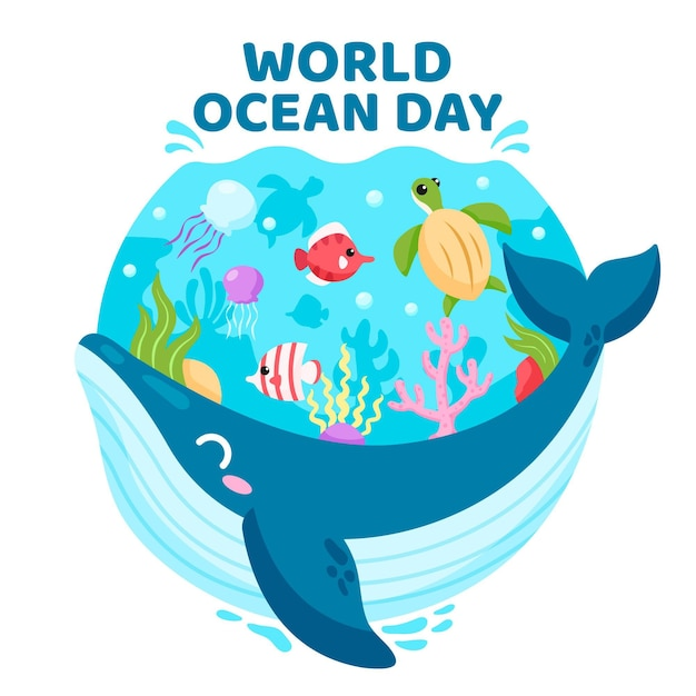 Flat design world oceans day concept Free Vector