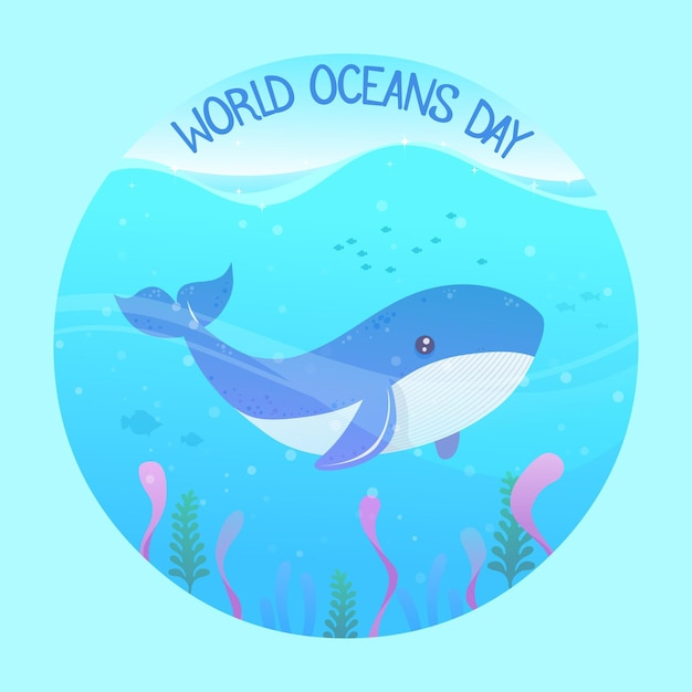 Flat design world oceans day Free Vector