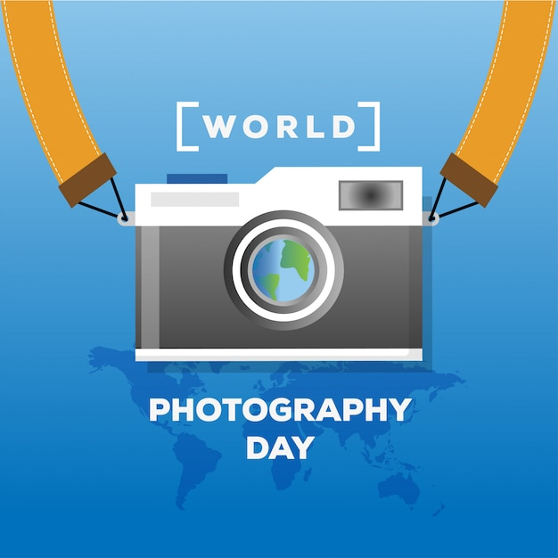 Flat design world photography day concept banner with world map and vintage camera  illustration Premium Vector