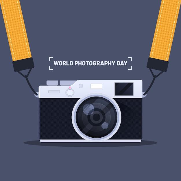 평면 디자인 세계 사진의 날 개념 무료 벡터