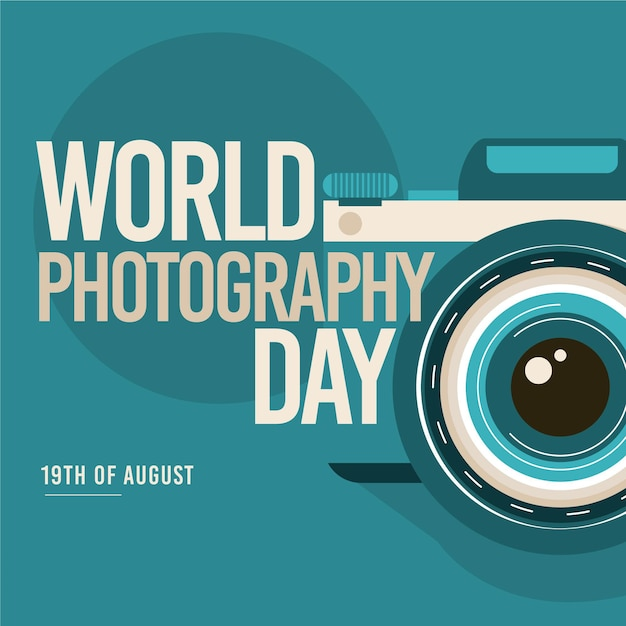 Flat design world photography day concept Free Vector