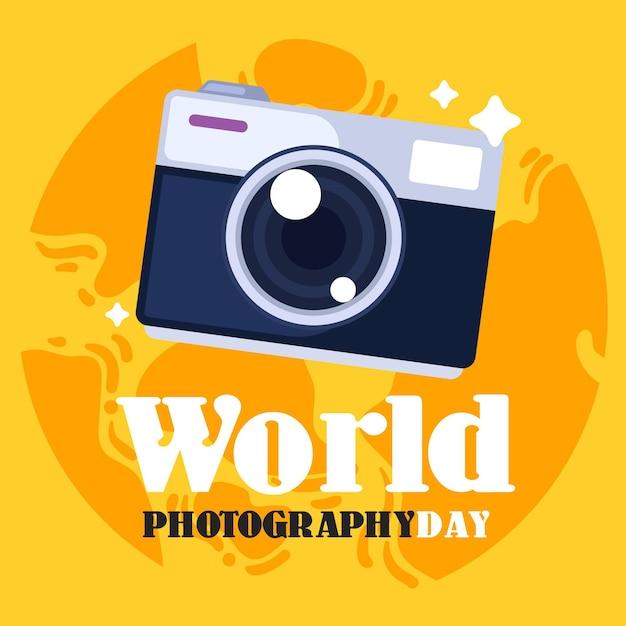 フラットなデザインの世界写真の日のコンセプト 無料ベクター