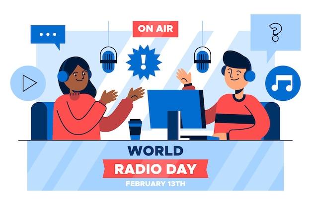 Всемирный день радио в плоском дизайне Бесплатные векторы