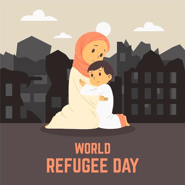 フラットデザインの世界難民の日のコンセプト 無料ベクター