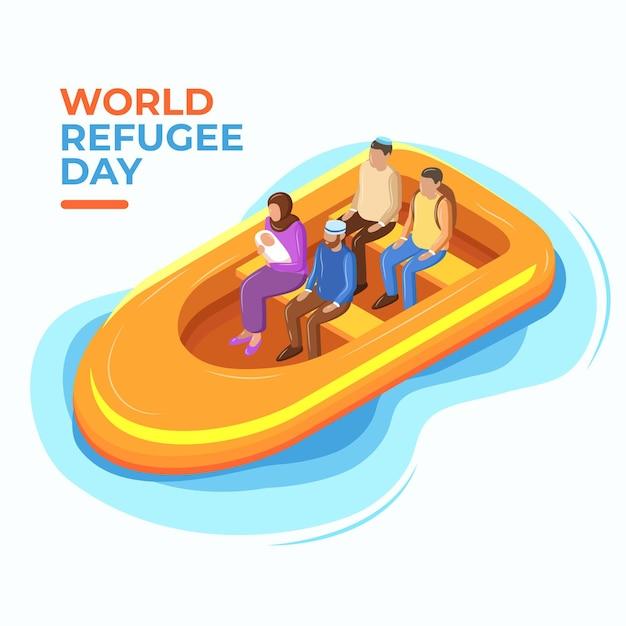 Concetto di giornata mondiale del rifugiato design piatto Vettore gratuito