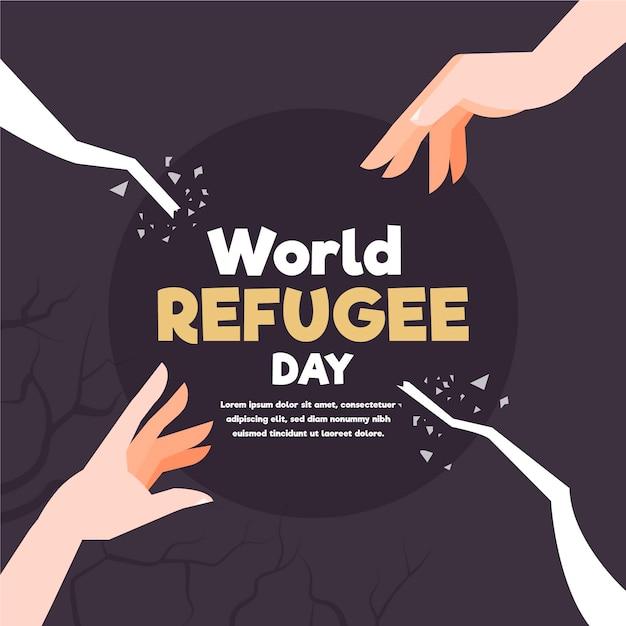フラットなデザインの世界難民の日のコンセプト 無料ベクター
