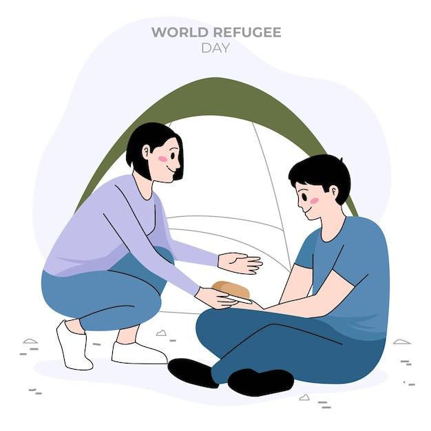 Design piatto giornata mondiale del rifugiato Vettore gratuito