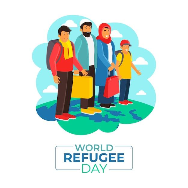 Giornata mondiale del rifugiato design piatto Vettore gratuito
