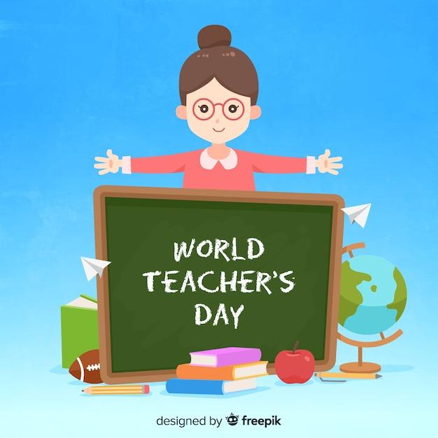 Flat design world teacher's day background Free Vector