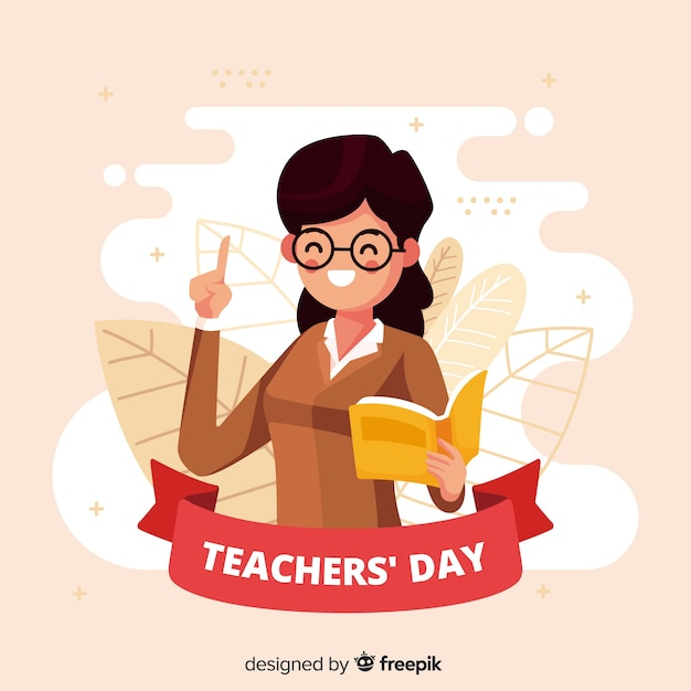 Flat design world teacher's day background Free Vector