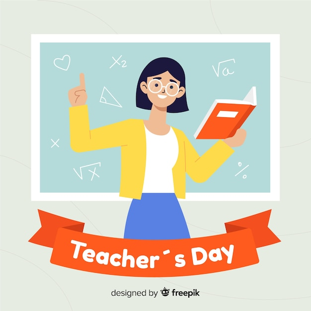 Flat design world teachers day concept Free Vector