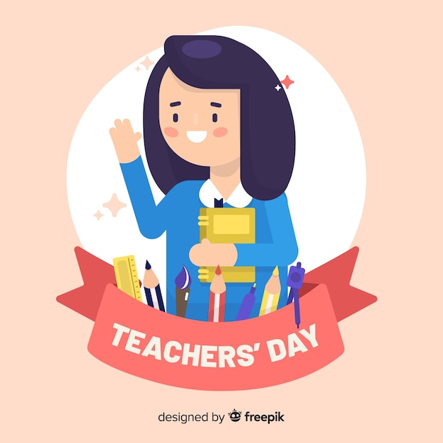 Flat design of world teachers' day Free Vector