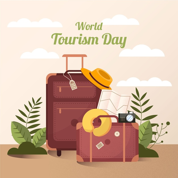 Празднование всемирного дня туризма в плоском дизайне Premium векторы