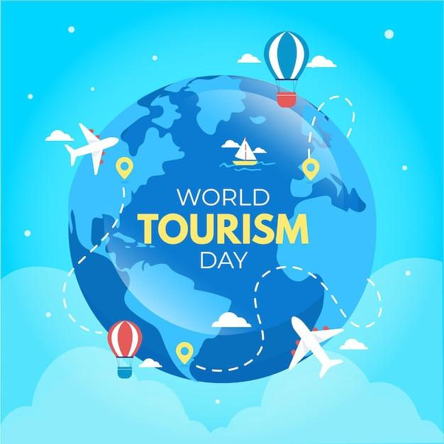 Concetto di design piatto giornata mondiale del turismo Vettore gratuito