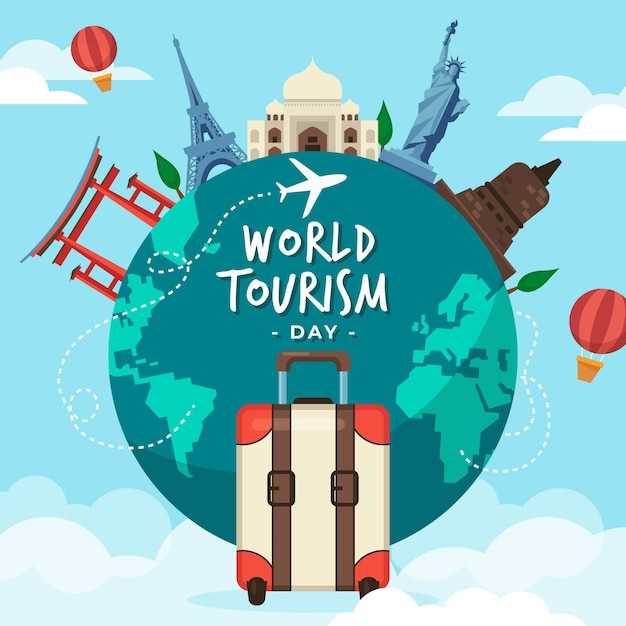 Flat design world tourism day concept Free Vector