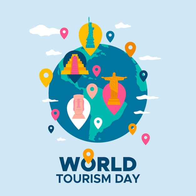 Evento della giornata mondiale del turismo di design piatto Vettore gratuito