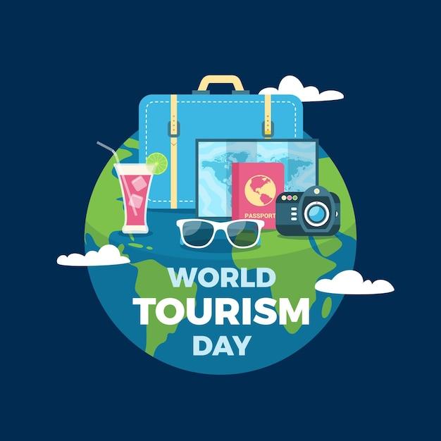 Плоский дизайн всемирного дня туризма с глобусом Бесплатные векторы
