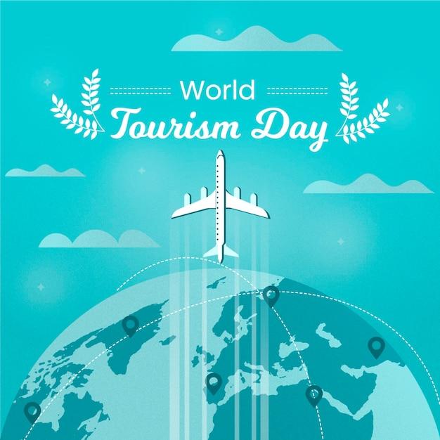 フラットデザインの世界観光の日 無料ベクター