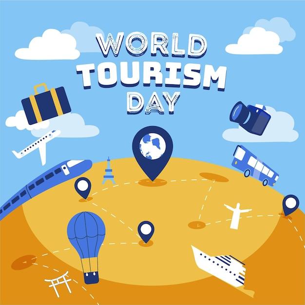 Всемирный день туризма в плоском дизайне Бесплатные векторы