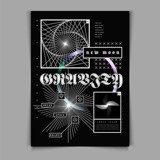 Poster y2k design piatto Vettore gratuito