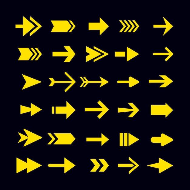평면 디자인 노란색 화살표 컬렉션 무료 벡터