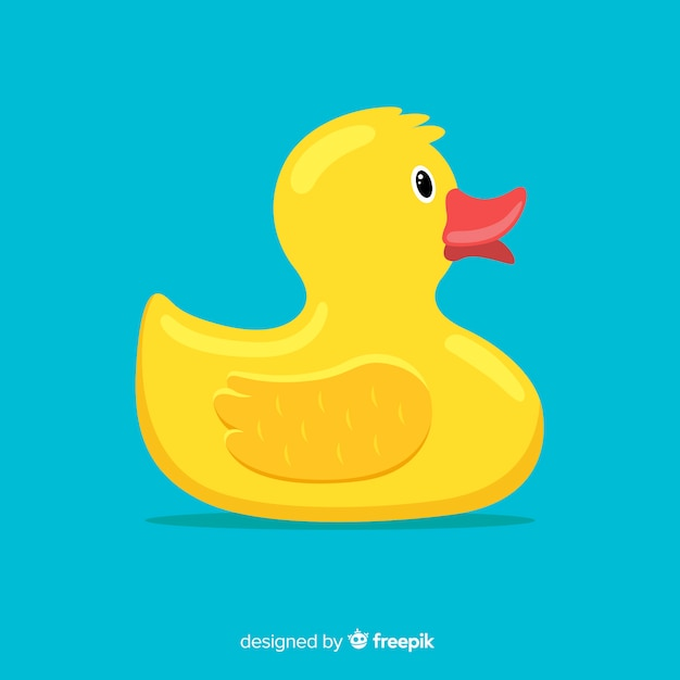 Flat design yellow rubber duck illustration Free Vector