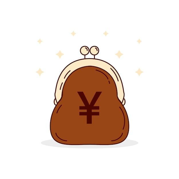 Flat design yen money in purse Free Vector
